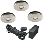 Juno Undercabinet Lighting UK3STL-3K-SN (UK3STL 30K 80CRI SN) 3-Puck Light LED KIT, 3000K Color Temperature, Satin Nickel Finish