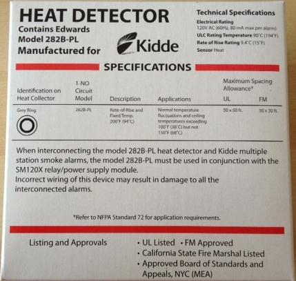 Kidde edward signaling 282b pl 120vac wire in 200 deg f heat detector fandeluxe Gallery