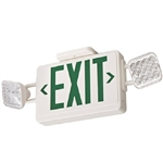 Lithonia ECG LED HO M6 LED Emergency Light Exit Sign Combo White Thermoplastic 2-Lamp Single Face Green Letters Battery Backup