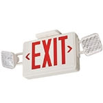 Lithonia ECR LED M6 LED Emergency Light Exit Sign Combo White Thermoplastic 2-Lamp Single Face Red Letters Battery Backup