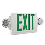 Lithonia LHQM LED G M6 LED Emergency Light Exit Sign Combo White Thermoplastic 2-Lamp Single Face Quantum Green Letters Battery Backup