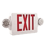 Lithonia LHQM LED R M6 LED Emergency Light Exit Sign Combo White Thermoplastic 2-Lamp Single Face Quantum Red Letters Battery Backup