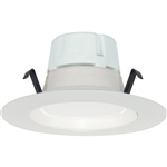 "Satco S9117 8W 4"" LED Baffle Recessed Downlight Retrofit, 120V, Medium E26 Base, 3000K, 90 Degree Beam Spread - 8WLED/RDL/4/120V/BFL"