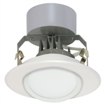 "Satco S9123 8W 4"" LED Gimbled Recessed Downlight, Retrofit, 120V, Medium E26 Base, 3000K, 90 Degree Beam Spread - 8WLED/RDL/4GBL/120V"