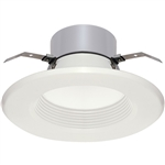 "Satco S9127 20W 5"" and 6"" LED Baffle Recessed Downlight Retrofit, 120V, Medium E26 Base, 3000K, 90 Degree Beam Spread - 20WLED/RDL/5-6BFL/120V"