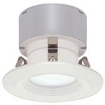 "Satco S9128 7W 3"" LED Baffle Recessed Downlight Retrofit, 12V, Miniature 2 Pin Round GU5.3 Base, 3000K, 90 Degree Beam Spread - 7WLED/RDL/3BFL/12V"