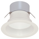 "Satco S9130 8W 4"" LED Baffled Recessed Downlight, Retrofit, 12V, Miniature 2 Pin Round GU5.3 Base, 3000K, 90 Degree Beam Spread - 8WLED/RDL/4BFL/12V"