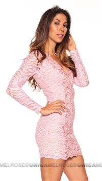 Baccio Couture Rose Long Sleeve Mini Dress With Hand Paint Detail