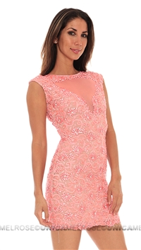 Baccio Coral Nude Giselle Painted Short Dress