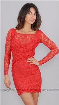 Style Stalker Red Lace Love Me Rouch Dress