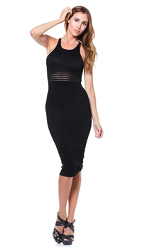 Torn by Ronny Kobo Black Esha Tubular Pointelle Dress