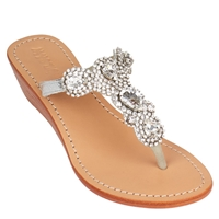 Mystique Silver 'Cairo' Wedge Sandals