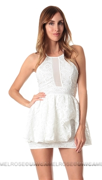Lovers + Friends Ivory 'Kiss & Tell' Fit & Flare Mini Dress