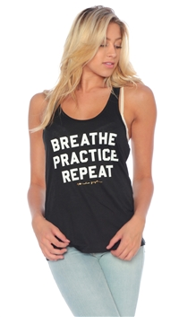 Spiritual Gangster Vintage-Black 'Breathe Practice Repeat' Yoga Tank Top