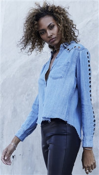 Rails Medium Vintage Denim 'Clayton' Cut Off Button Up Top