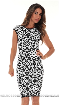 Torn Black and White Pattern Dress