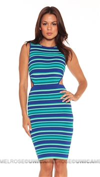 Torn by Ronny Kobo Teal Harlow Stripes Mini Cut Out Dress