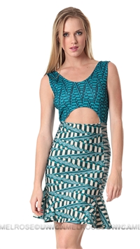 Torn by Ronny Kobo Aqua Lora Basketweave Print Cocktail Dress