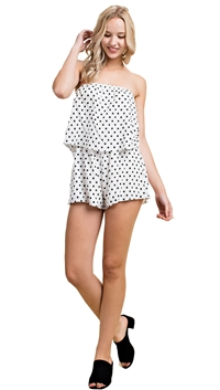 Honey Punch White Polka Dot Print Romper
