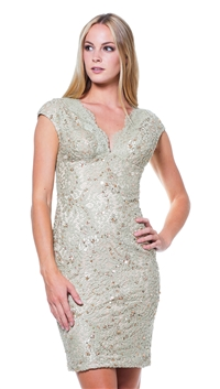 Julian Joyce by Mandalay Champagne Woven Cocktail Dress