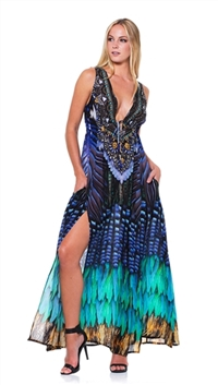 Parides Blue Jay Long Maxi Dress
