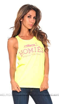 Brian Lichtenberg Homies Neon Yellow Tank Top in Hot Pink