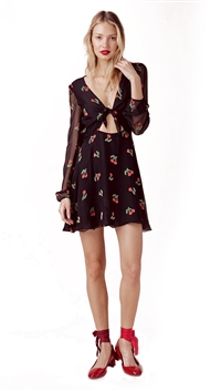 For Love & Lemons Cherry Twist Mini Dress