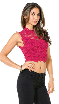 Nightcap Sangria Dixie Lace Crop Top