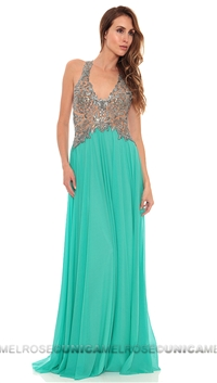 Ema Savahl Aqua Sheer Empire Long Dress