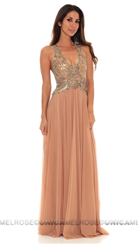 Ema Savahl Nude Sheer Empire Long Dress