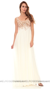 Ema Savahl Nude & White Jeweled Hand Painted Gown