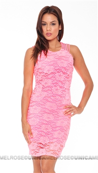 Donna Mizani Neon Coral Lace Multi Strap Dress