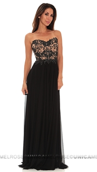 Ema Savahl Black Sheer Waist Strapless Long Dress
