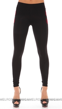David Lerner Black Legging w/Red Felt Patches