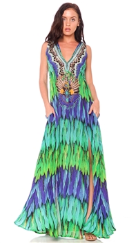 Parides Green Envy 'Dreamcatcher' Long Dress
