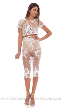 Abyss By Abby White Sheer Two Piece Dress