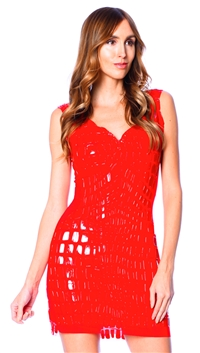 Ema Savahl Red Crocodile Cocktail Dress