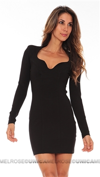 Lovers + Friends Black Sweet Heart Neck Long Sleeve Mini Dress