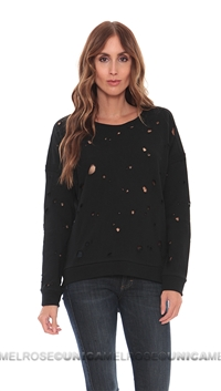 Generation Love Black Distressed Hole Sweater