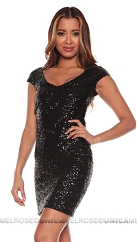 Lovers + Friends Black Bahama Mama Sequin Short Dress