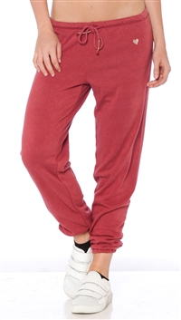 Spiritual Gangster Dusty Cedar 'Heart Embroidery' Sweatpants