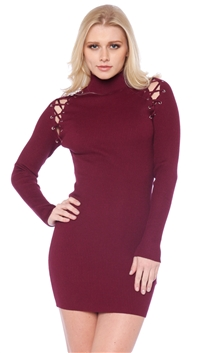 Blue Blush Burgundy Long Sleeve Ribbed Mini Dress