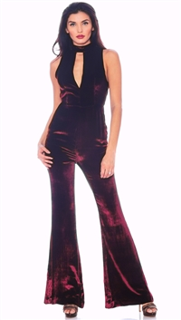 The Jetset Diaries Oxblood Velvet 'Atlas' Jumpsuit