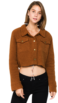 LUNIK Ginger Cropped Teddy Jacket