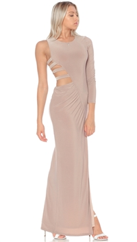Abyss By Abby Taupe 'Muse' Maxi Dress