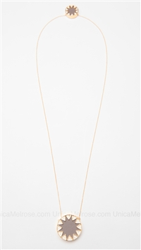 House of Harlow 14 kt Gold Plated Starburst Stations Necklace with Khaki Leather and Pave