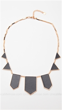 House of Harlow 14 kt Gold Plated Black Leather Station Necklace