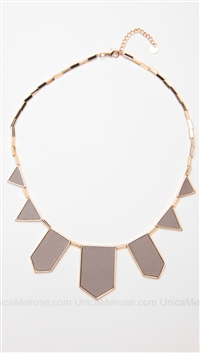 House of Harlow 14 kt Gold Plated Khaki Leather Station Necklace