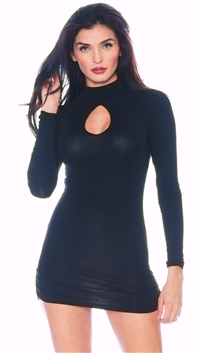 Nicole Andrews Black 'Forever' Peekaboo Mini Dress