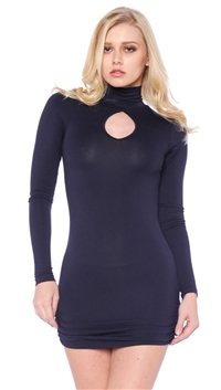Nicole Andrews Navy 'Forever' Peekaboo Mini Dress